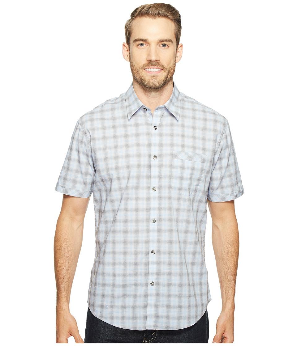 James Campbell - Matrix Short Sleeve Woven Plaid Shirt (Blue) Men's Clothing