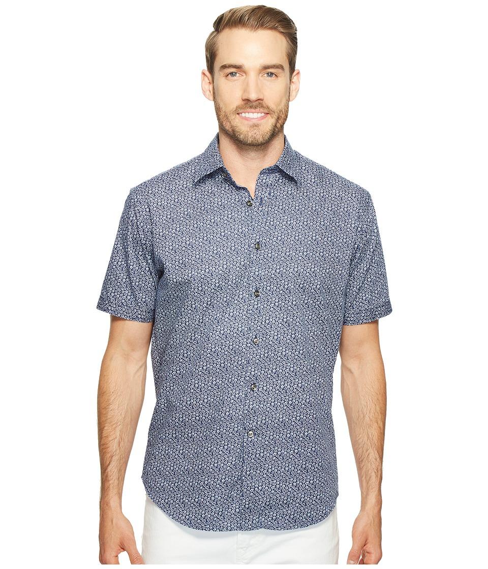 James Campbell - Gugino Short Sleeve Woven Shirt (Blue) Men's Clothing