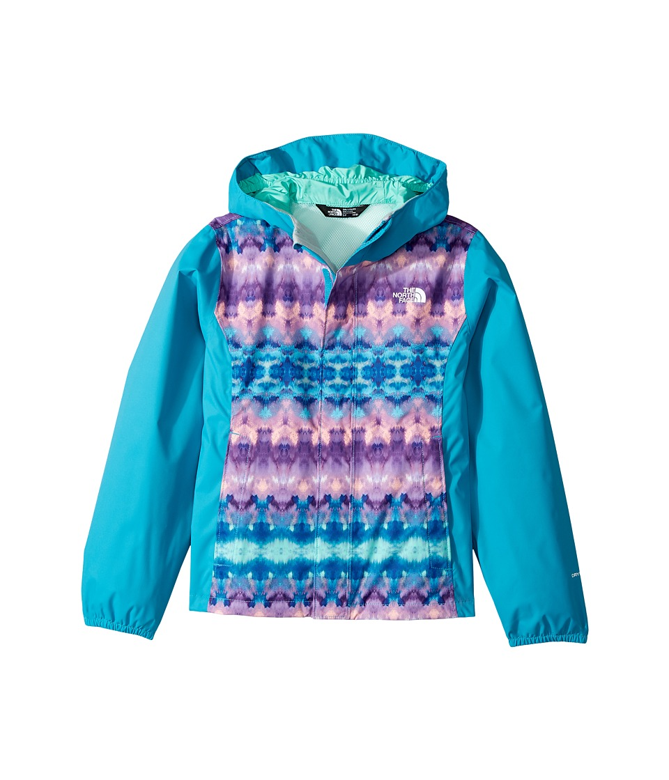 The North Face Kids Resolve Reflective Jacket (Little Kids/Big Kids) (Algiers Blue Fair Isle Print/Bermuda Green (Prior Season)) Girl