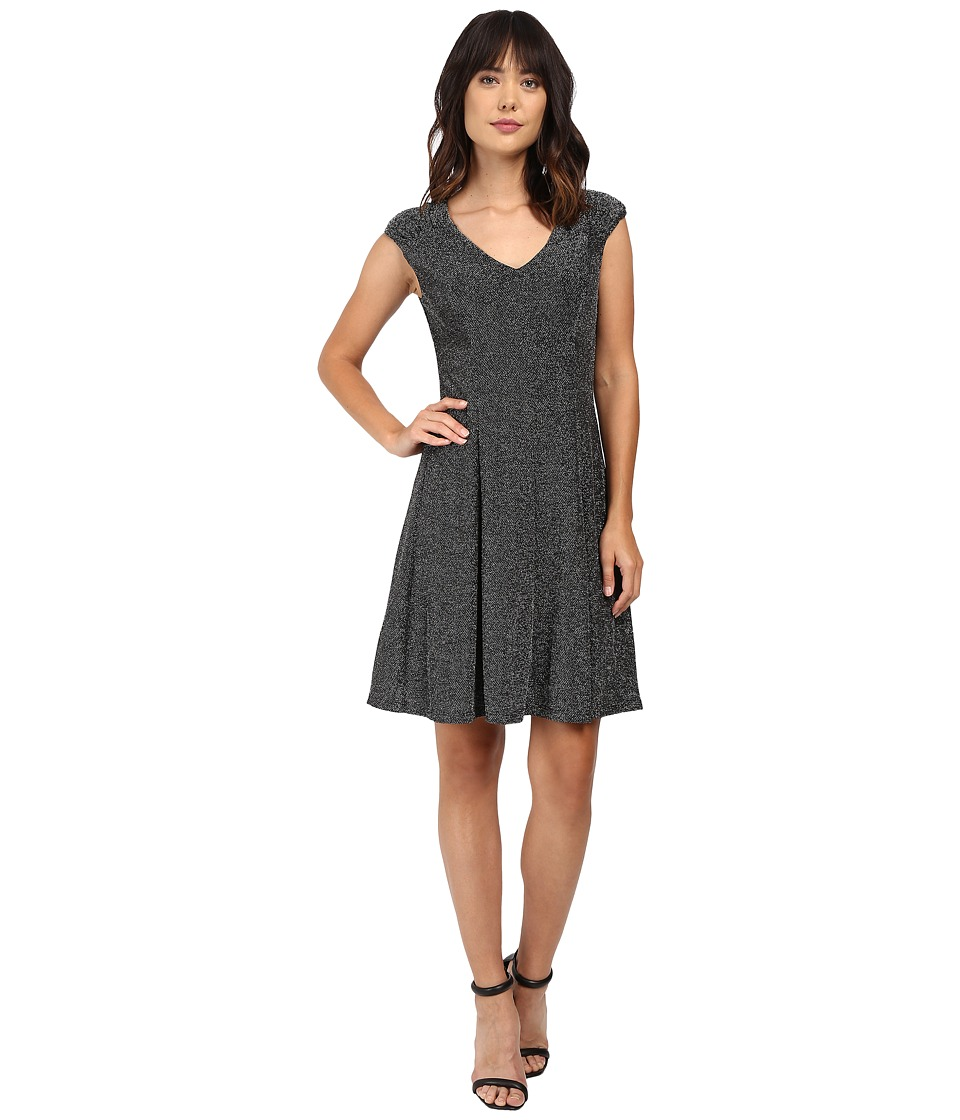 London Times Metallic Knit V-Neck Fit Flare Dress (Black/Silver) Women