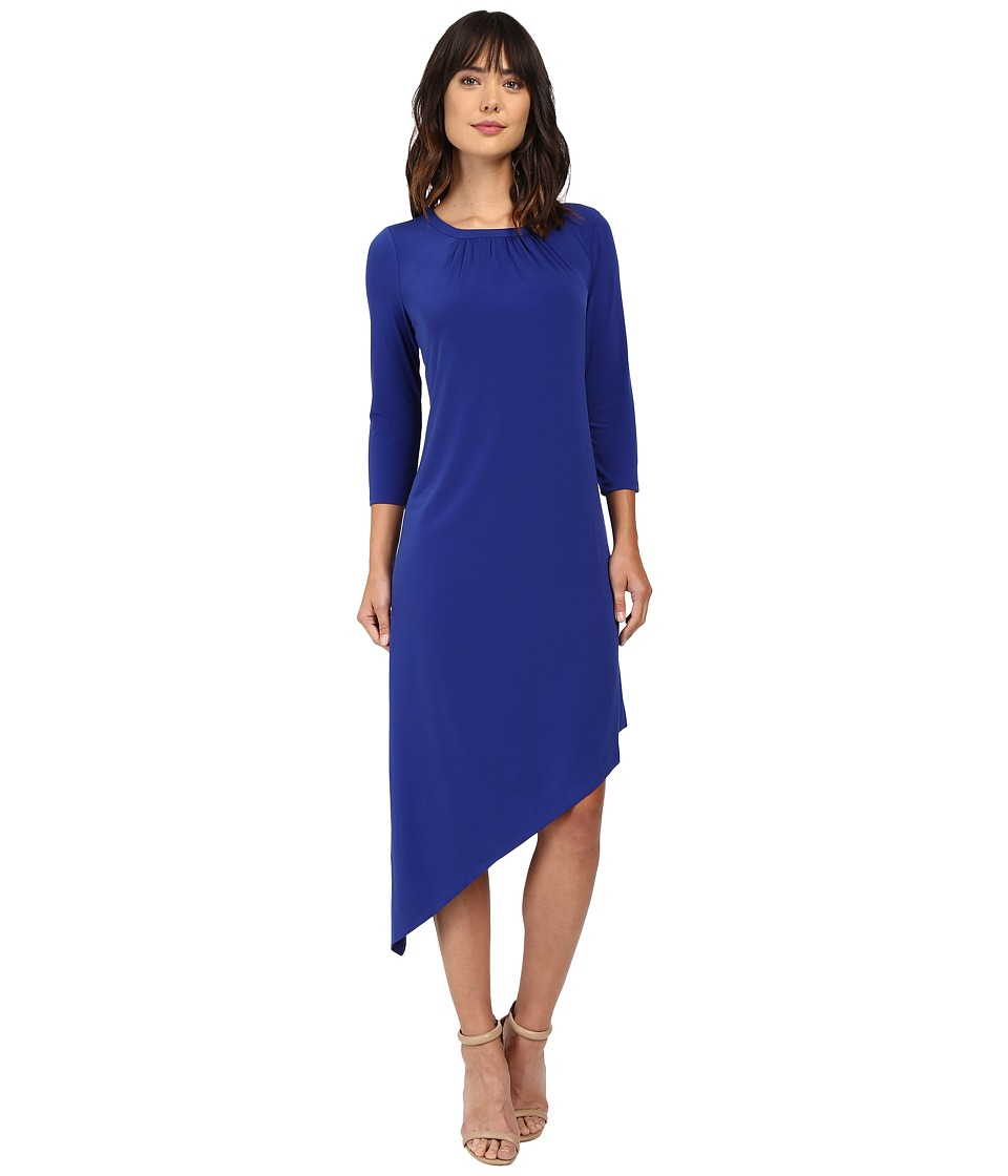 London Times - 3/4 Asymmetrical Shift Dress (Blue) Women's Dress