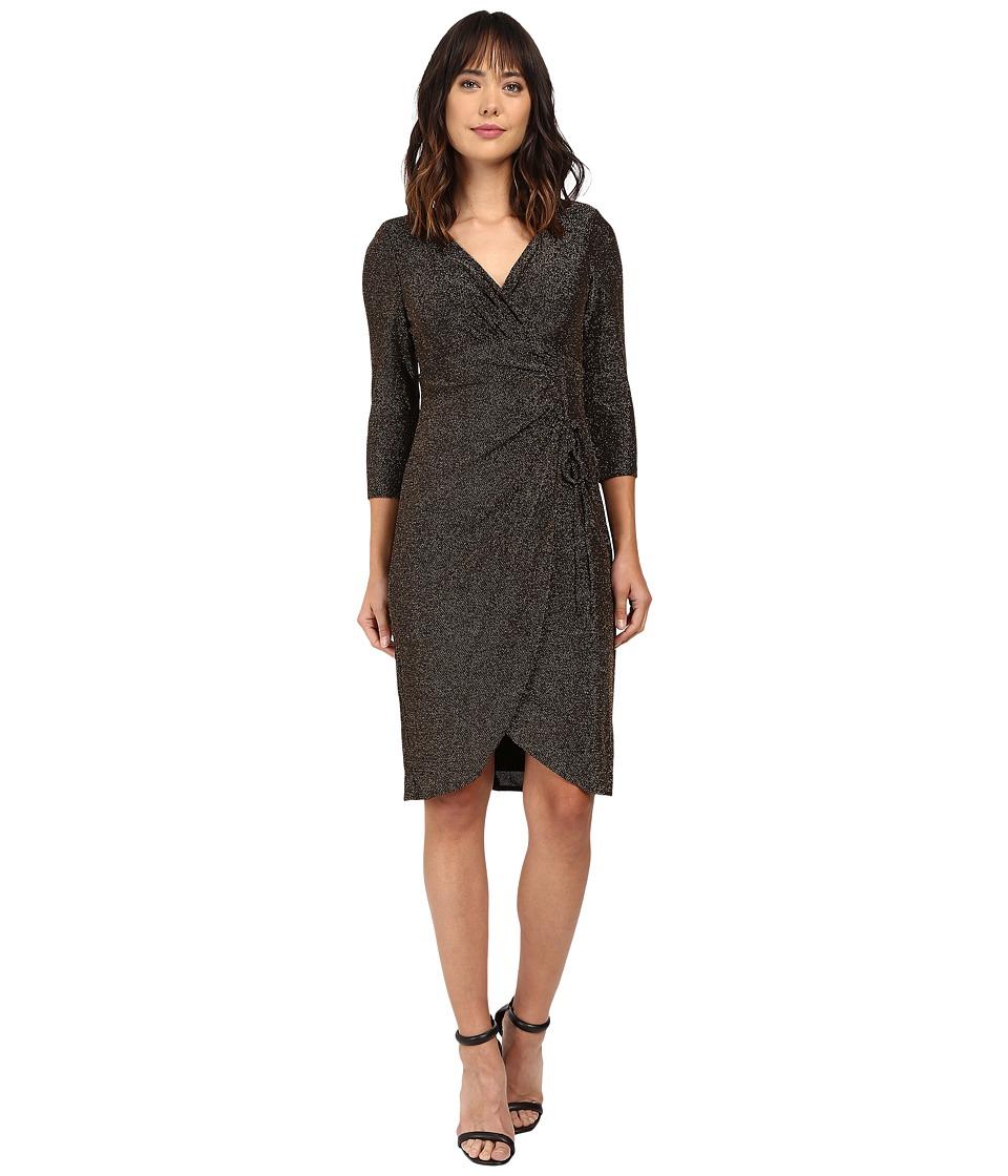 London Times - 3/4 Sleeve Side Ruched Sheath (Black/Gold) Women's Dress