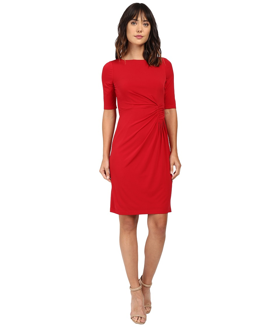 London Times - Matte Jersey Sheath Dress w/ Ruching (Chinese Red) Women's Dress