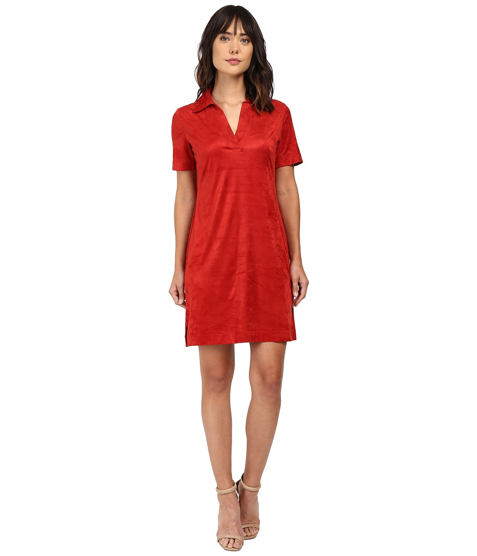 London Times - Suede Short Sleeve Collared Shift (Paprika) Women's Dress