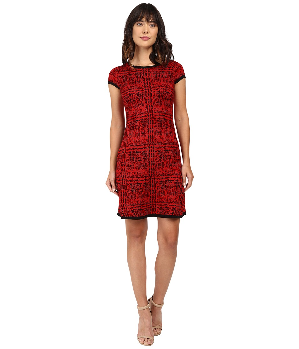 London Times Short Sleeve Fit Flare Sweater Dress (Red/Black) Women