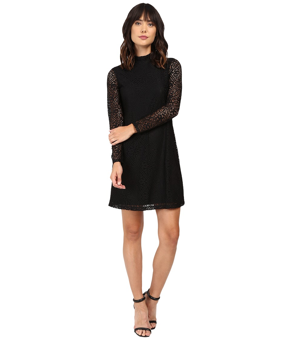 London Times - Medieval Tile Lace Long Sleeve Shift (Black) Women's Dress