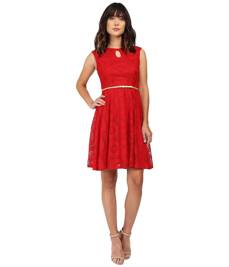 London Times Cap Sleeve Keyhole Tie Fit Flare Dress (Red) Women