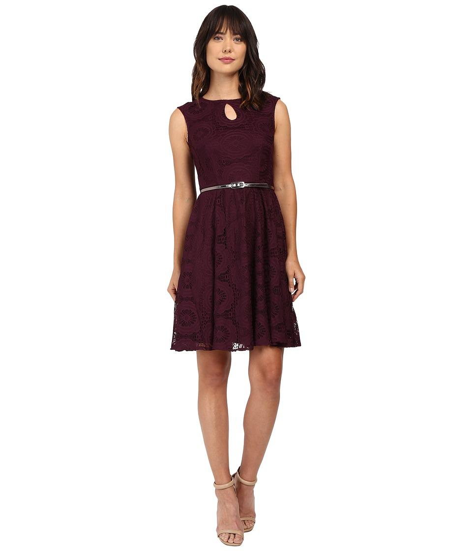 London Times Cap Sleeve Keyhole Tie Fit Flare Dress (Garnet) Women