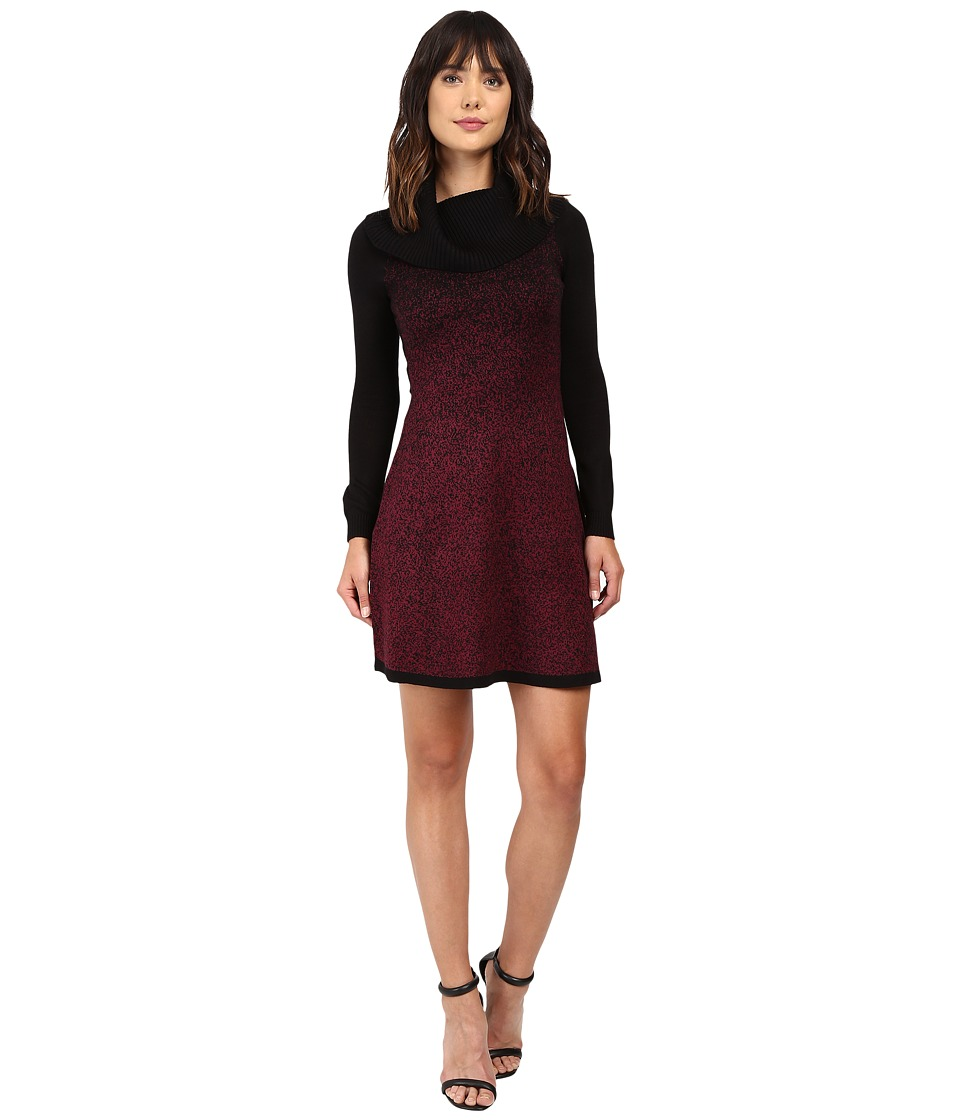 London Times - Cowl Neck Long Sleeve Sweater Knit Dress (Black/Claret) Women's Dress