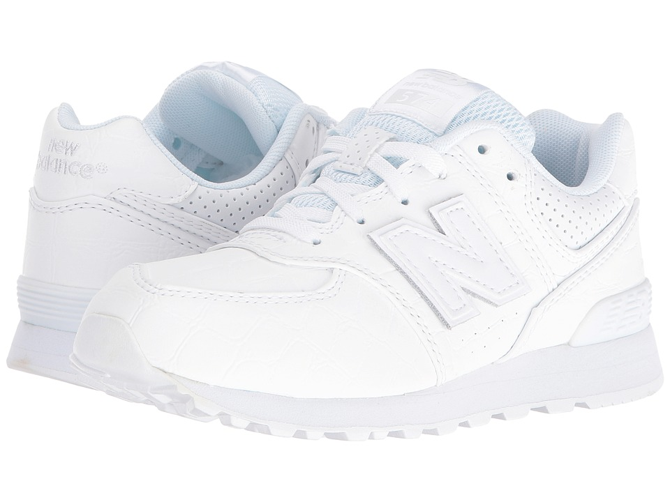 New Balance Kids - KL574 (Little Kid) (White/White) Boys Shoes