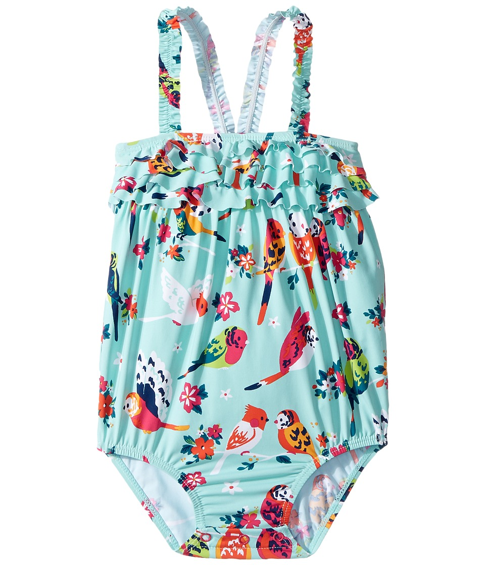 Hatley Kids - Tropical Birds Ruffle Swimsuit (Infant) (Blue) Girl's Swimsuits One Piece