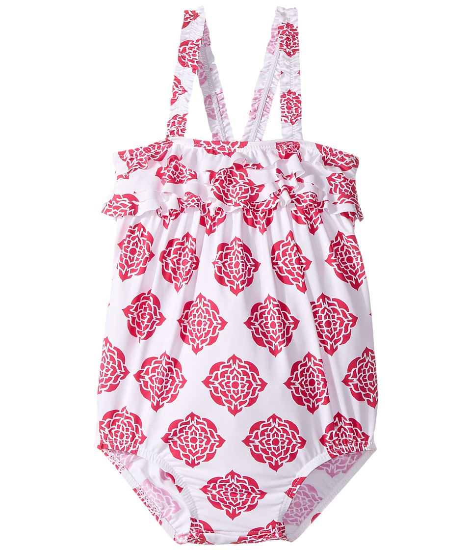 Hatley Kids - Henna Floral Ruffle Swimsuit (Infant) (White) Girl's Swimsuits One Piece