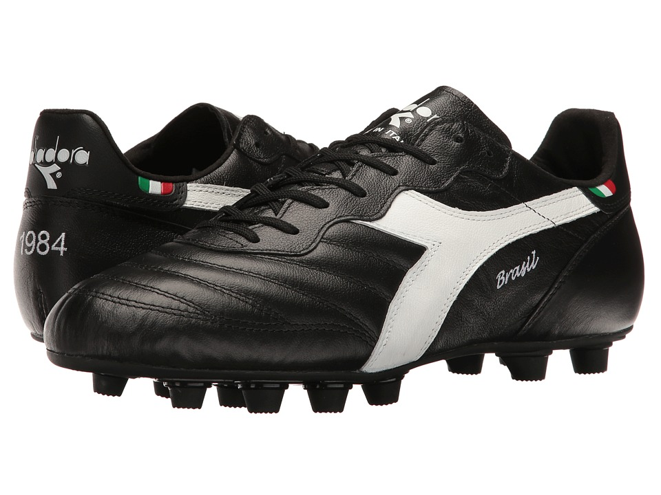Diadora Brasil Ita OG MD PU (Black/White) Soccer Shoes