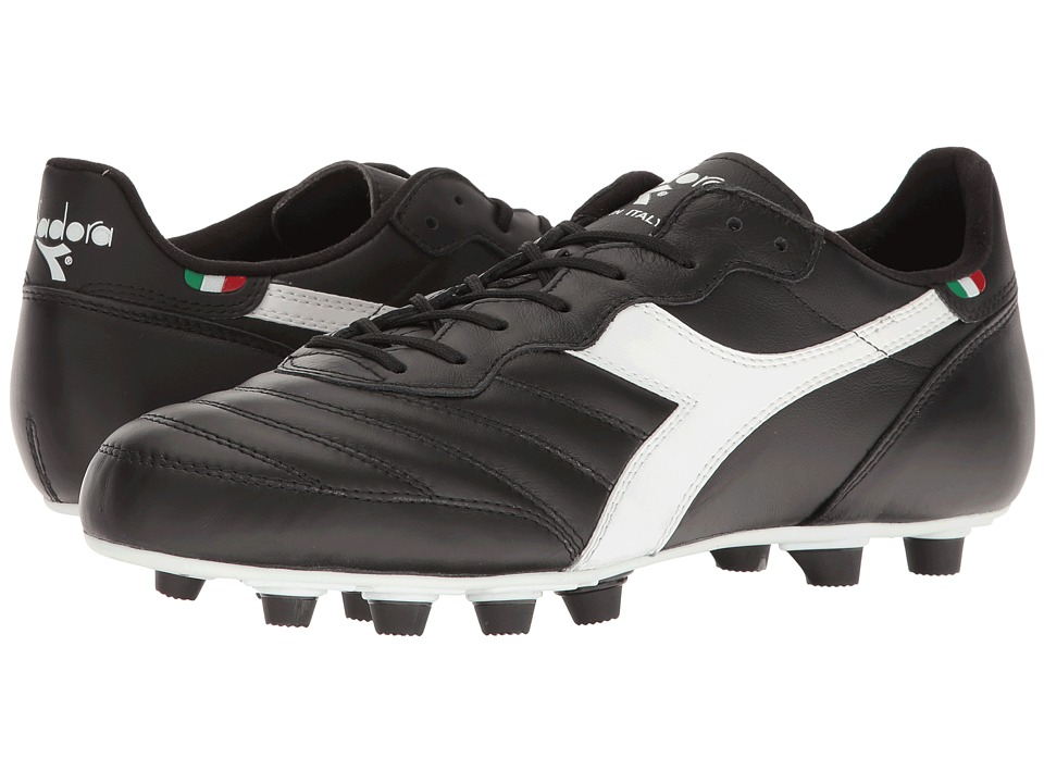 Diadora Brasil Ita LT MD PU (Black/White) Soccer Shoes