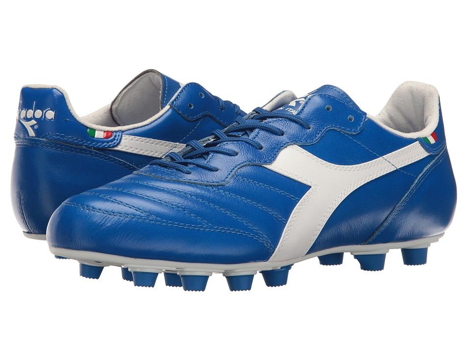 Diadora - Brasil Ita LT MD PU (White/Royal) Soccer Shoes
