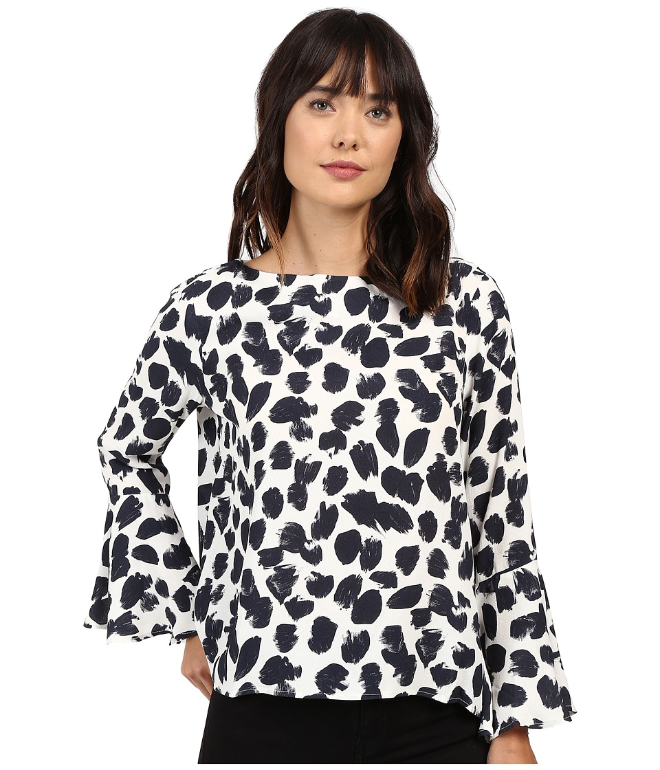 Karen Kane - Boat Neck Flare Sleeve Top (Black/Cream) Women's Clothing