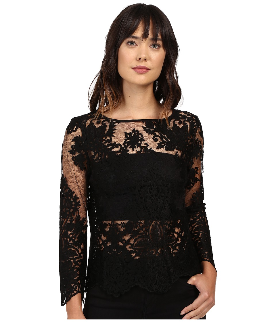 Karen Kane - Flare Sleeve Embroidered Top (Black) Women's Clothing