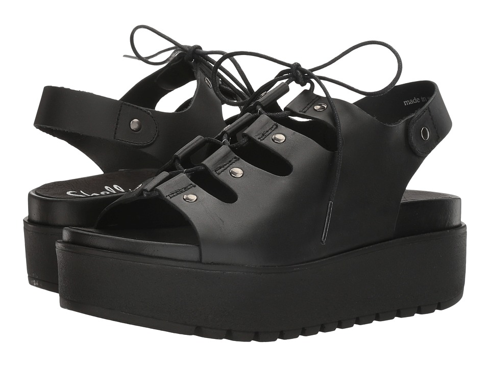 Shellys London - Kacey Platform Sandal (Black Leather) Women's Sandals