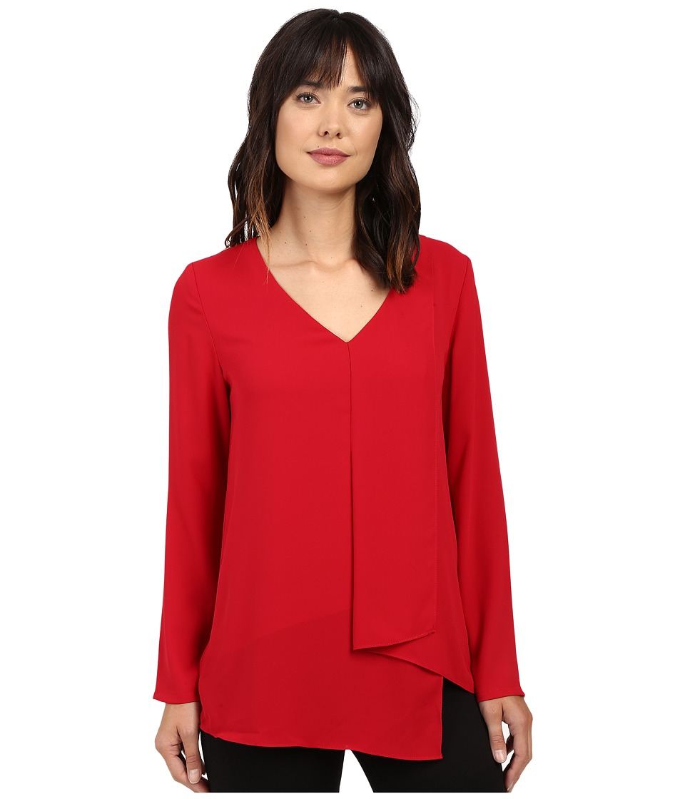 Karen Kane - Long Sleeve Draped Angle Top (Red) Women's Clothing