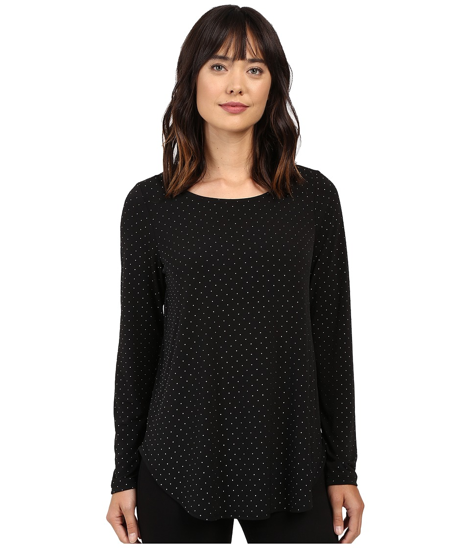 Karen Kane - Silver Dot Shirttail Top (Black/Silver) Women's Clothing
