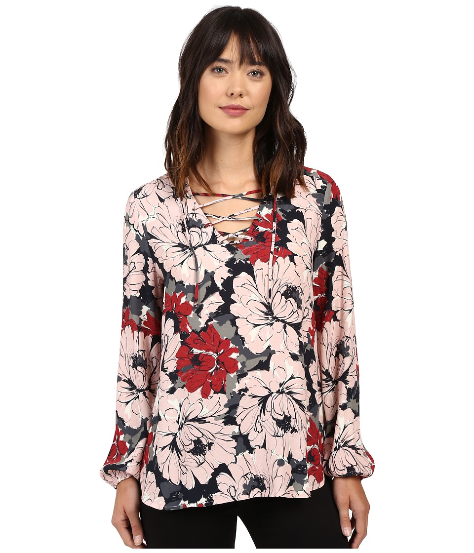Karen Kane - Lace-Up Shirttail Top (Print) Women's Clothing