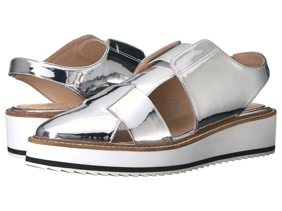 Shellys London - Dae Slingback (Silver Mirror) Women's Wedge Shoes