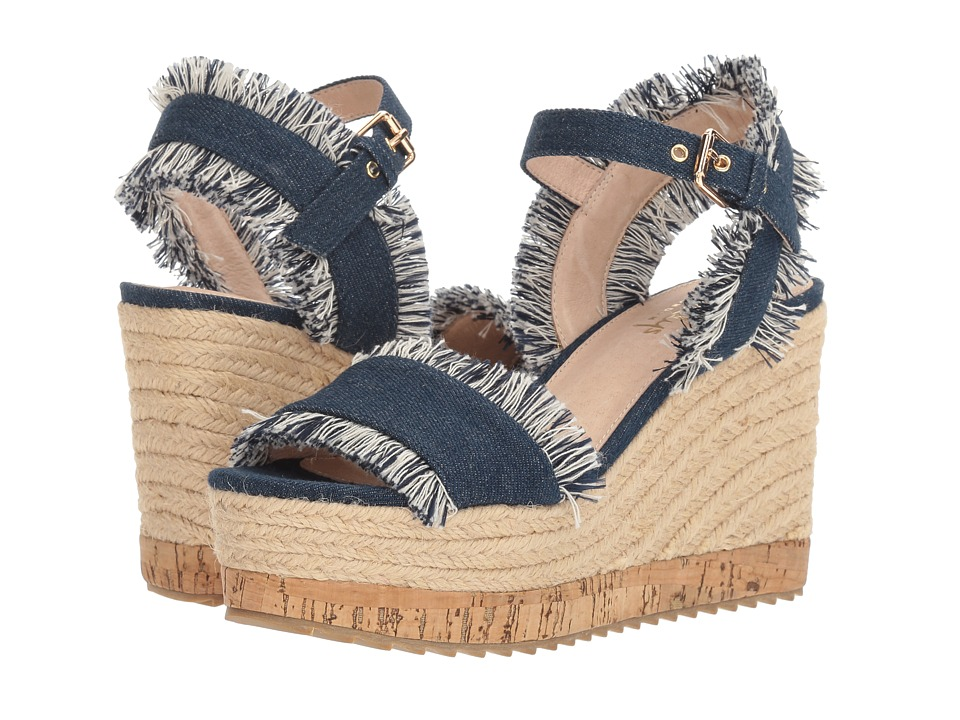 Shellys London - Daphne Wedge (Denim Fabric) Women's Wedge Shoes
