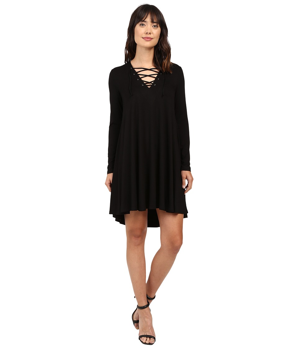 Karen Kane Lace-Up Maggie Trapeze Dress (Black) Women