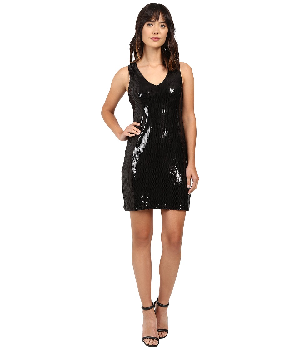 Karen Kane - V-Neck Sequin Sheath Dress (Black) Women's Dress