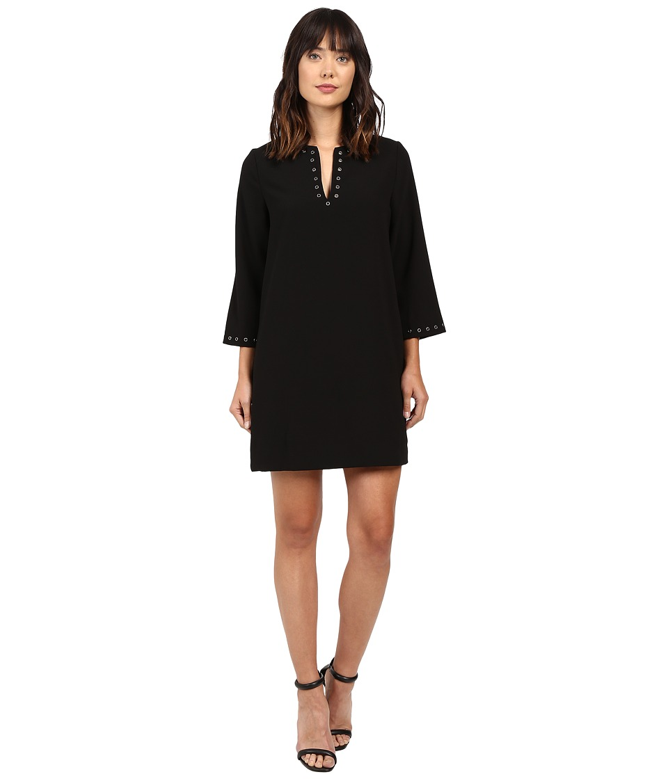 Karen Kane Eyelet Border Shift Dress (Black) Women