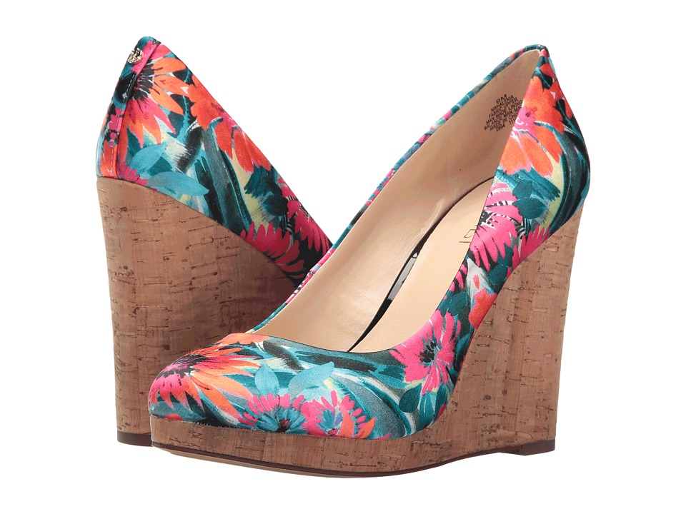 Nine West - Halenia 2 (Orange Multi Satin) Women's Wedge Shoes