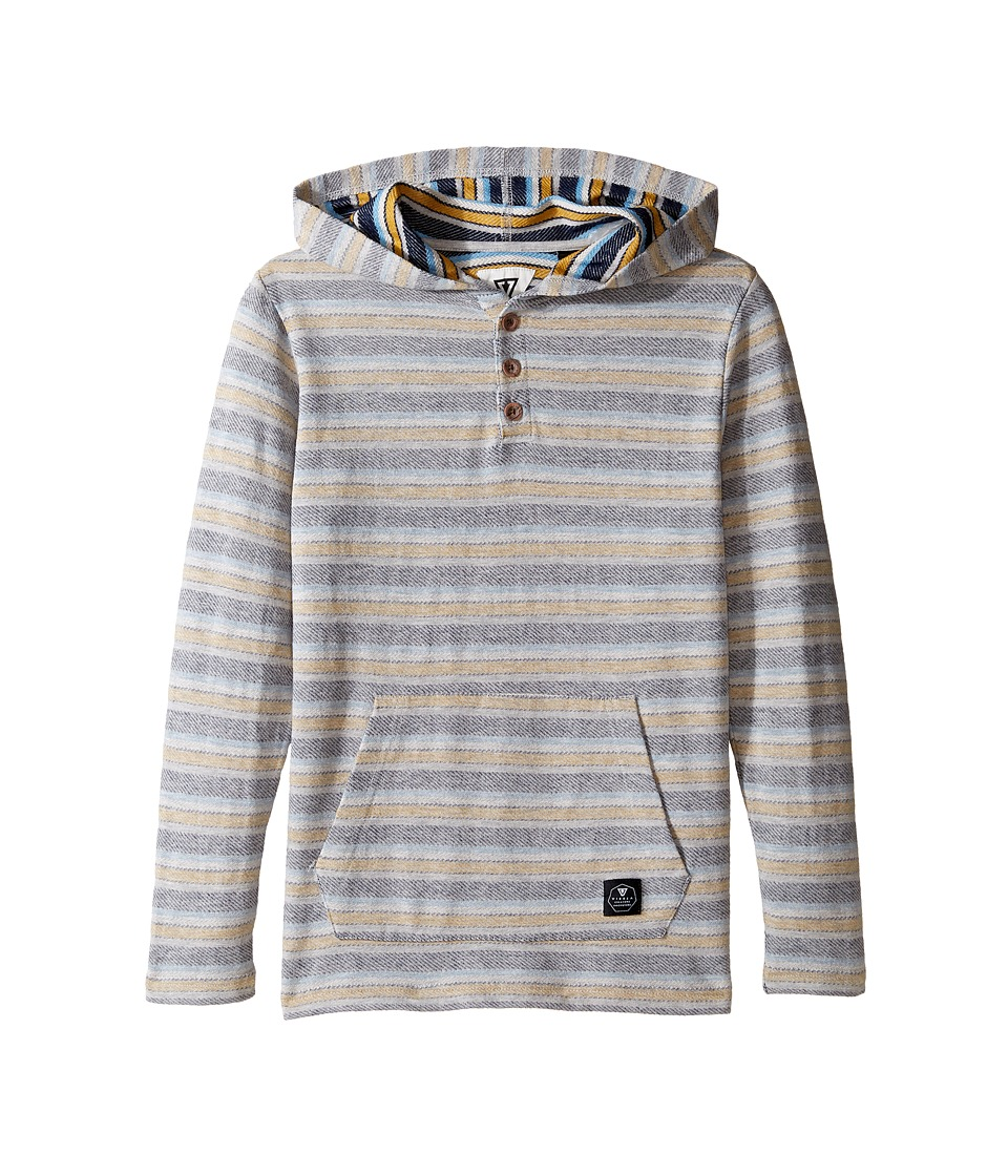 VISSLA Kids - The Box Hooded Henley Reversed French Terry (Big Kids) (Grey Heather) Boy's Clothing