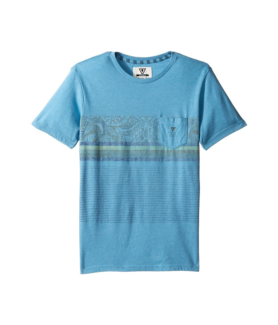 VISSLA Kids - Shark Alley Heathered Short Sleeve Knit (Big Kids) (Blue Fog Heather) Boy's Short Sleeve Knit
