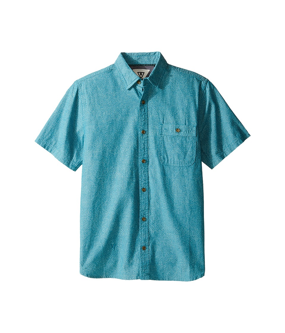 VISSLA Kids - Ulladulla Short Sleeve Woven with All Over Print (Big Kids) (Teal) Boy's Clothing