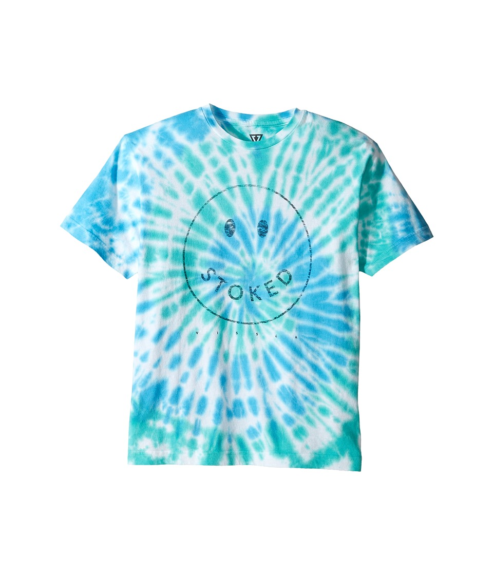 VISSLA Kids - Stoked Tie-Dye 30 Singles Short Sleeve Tee (Big Kids) (Blue) Boy's T Shirt