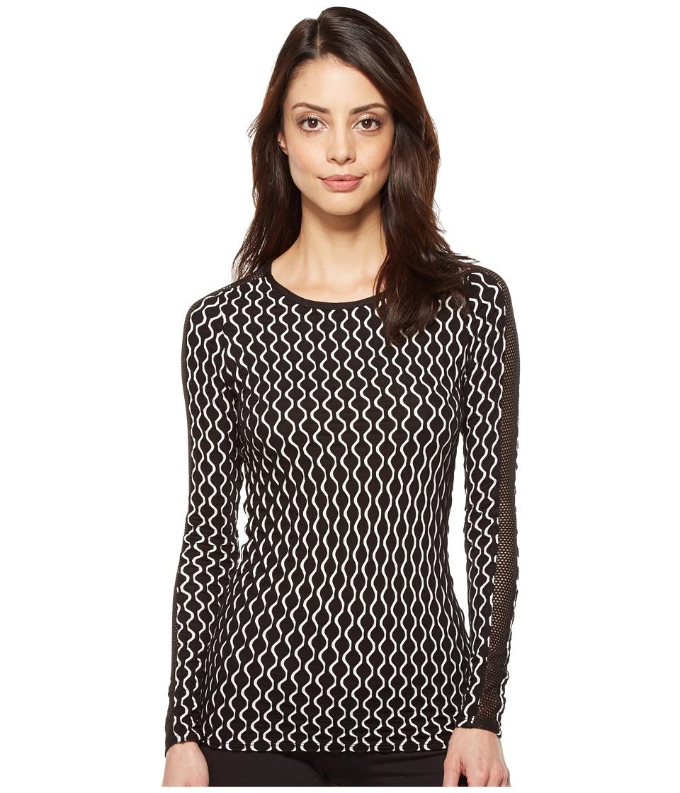 Trina Turk - Geo Knit Long Sleeve Top (Black) Women's Clothing