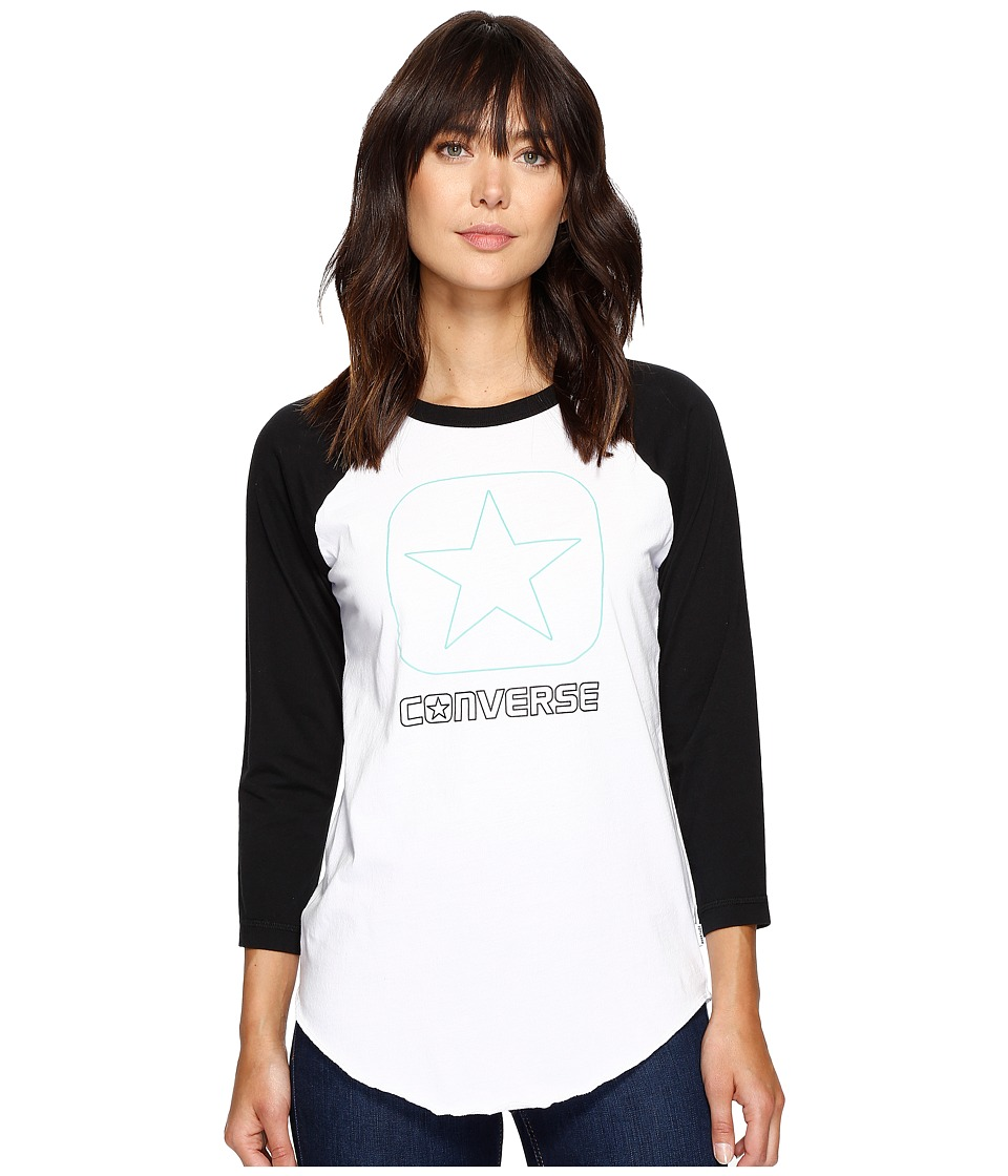 Converse - Flocked Box Star Raglan Tee (Vintage Grey Heather) Women's T Shirt