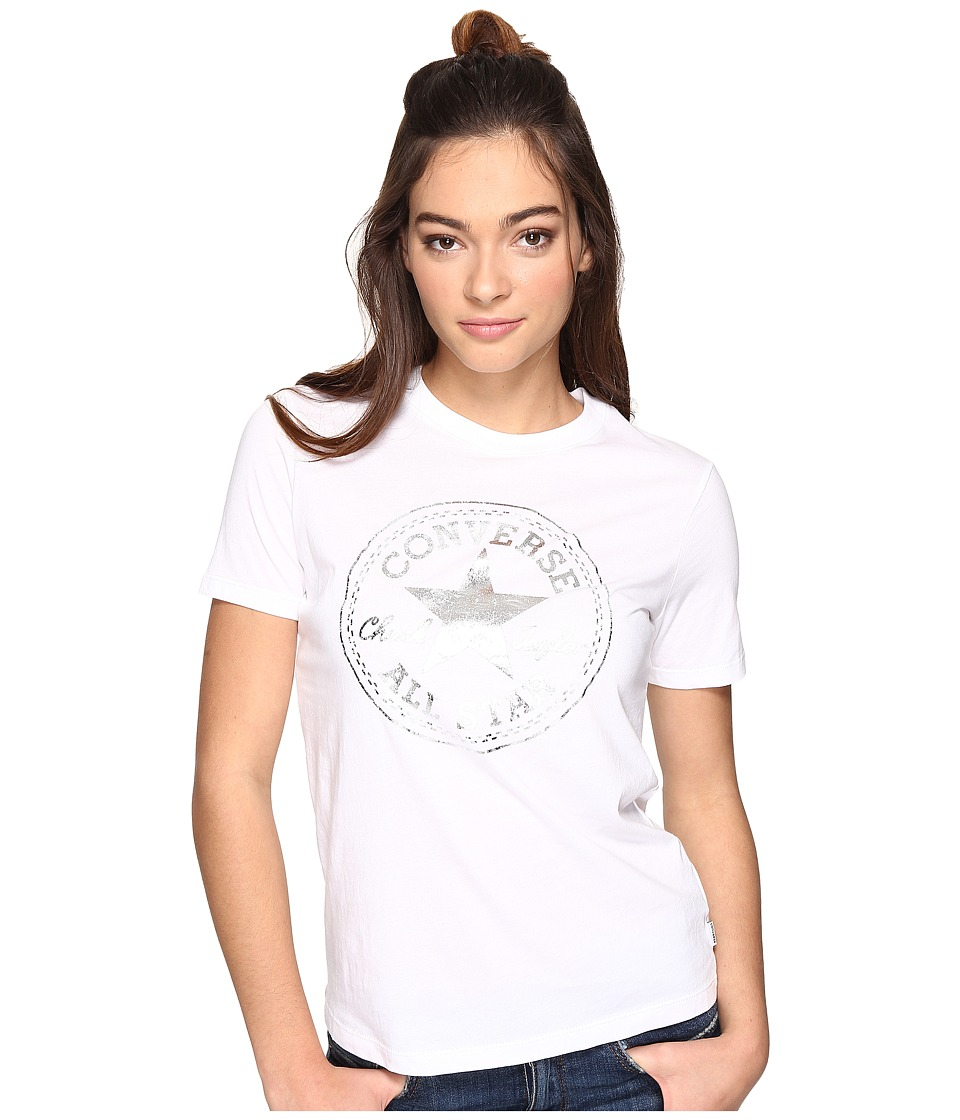Converse - Metallic Chuck Patch Short Sleeve Crew Tee (White) Women's T Shirt