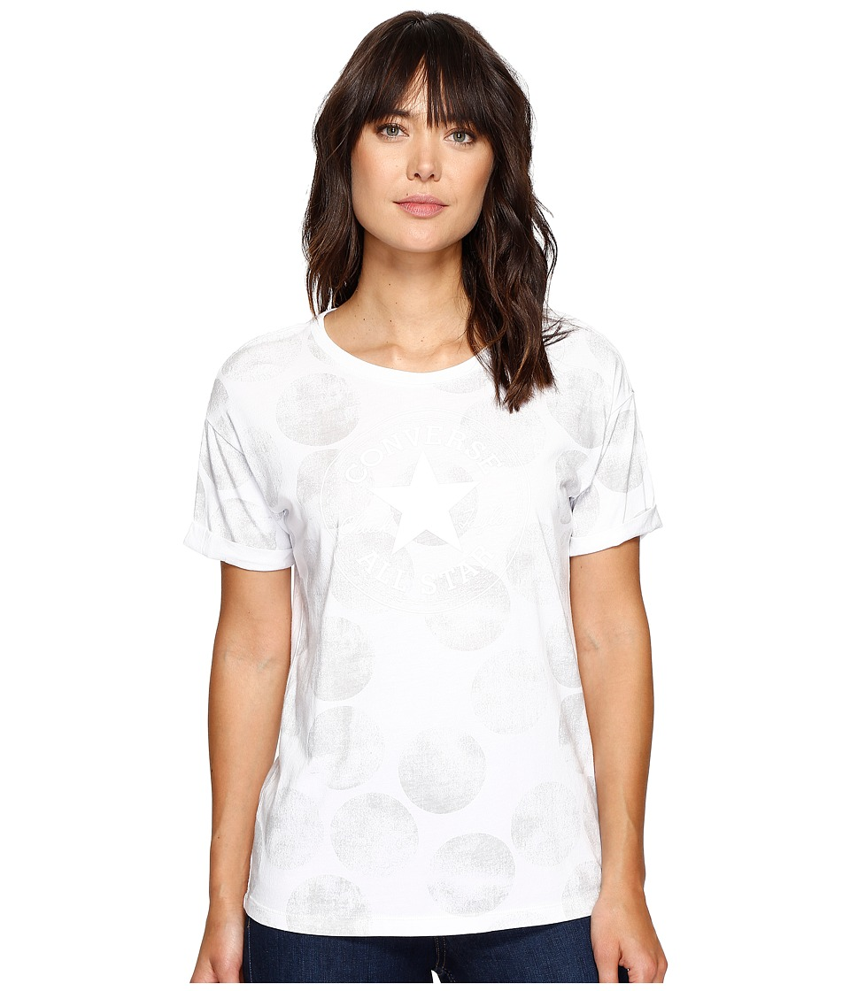 Converse - Big Dot Chuck Patch Roll-Sleeve Short Sleeve Tee (White) Women's T Shirt