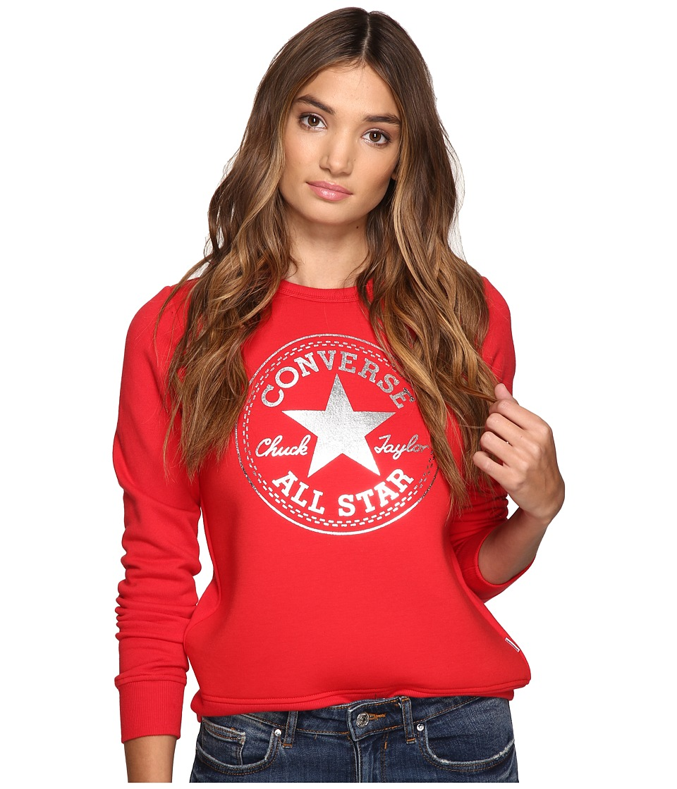 Converse - Chuck Patch Metallic Dot Crew Fleece Top (Casino Red) Women's Fleece