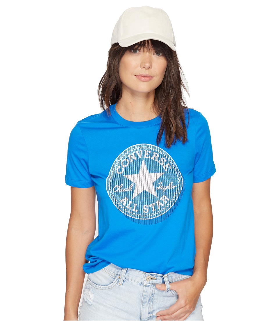 Converse Microdot Chuck Patch Classic Crew Tee (Soar Blue) Women