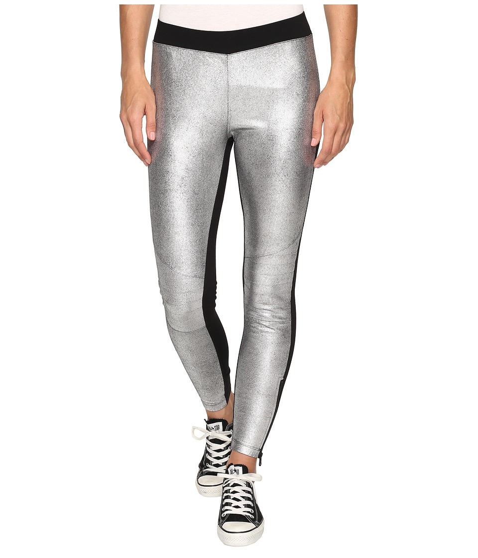 Converse - Metallic Moto Leggings (Black/Silver) Women's Casual Pants