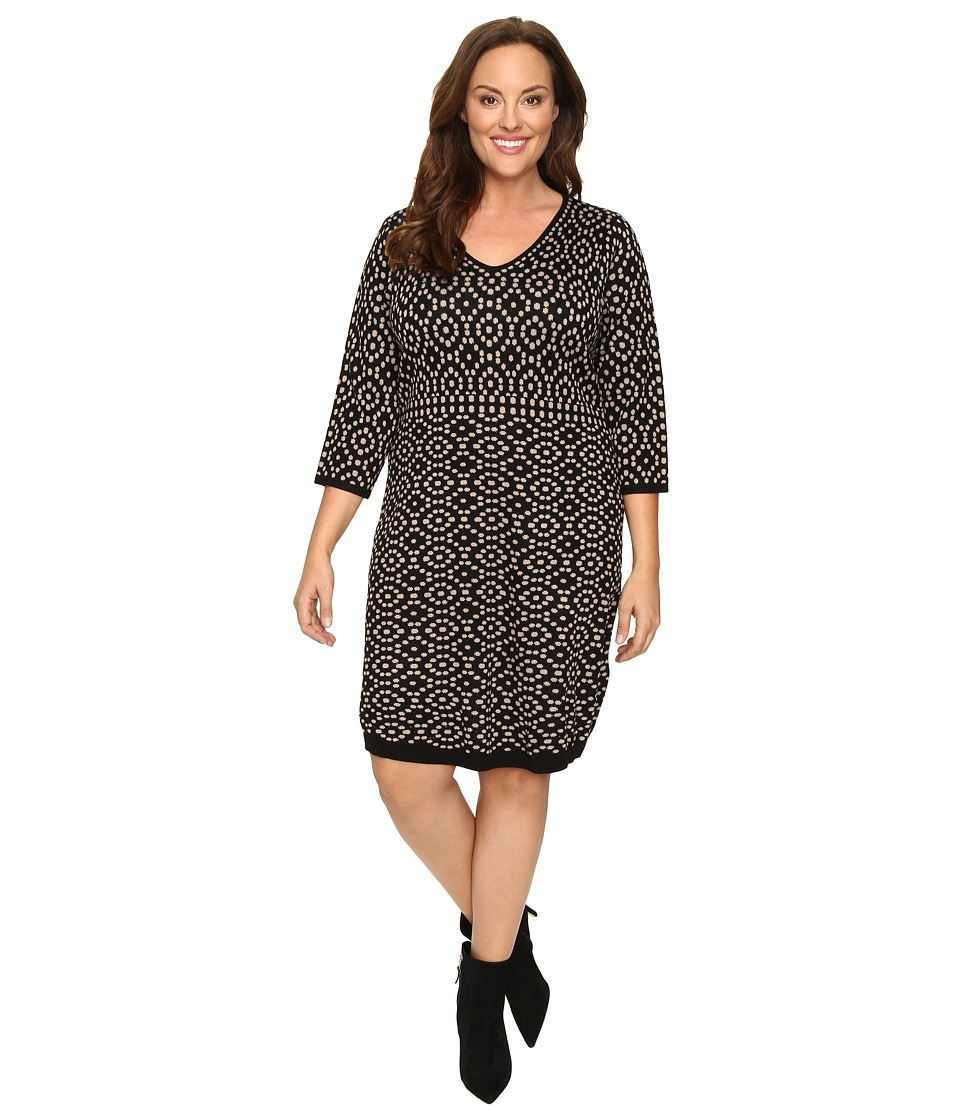 London Times - Plus Size 3/4 Sleeve V-Neck Sweater Knit Dress (Black/Buff) Women's Dress