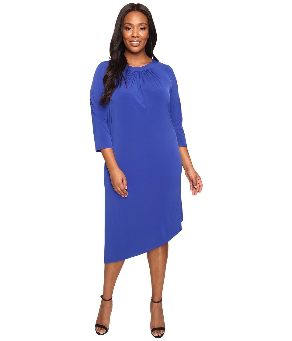 London Times - Plus Size 3/4 Asymmetrical Shift (Blue) Women's Dress