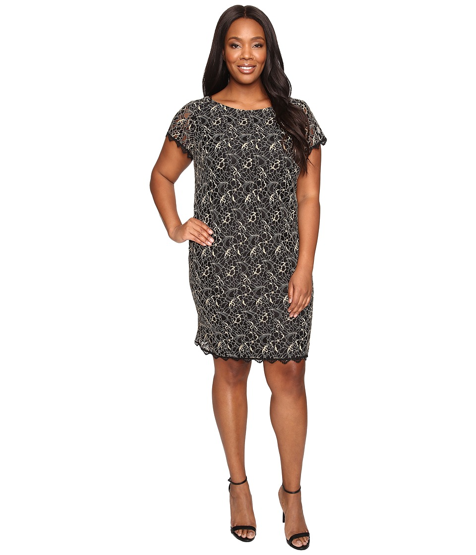London Times - Plus Size Lace Sheath w/ Scallop Lace Trim (Black/Gold) Women's Dress