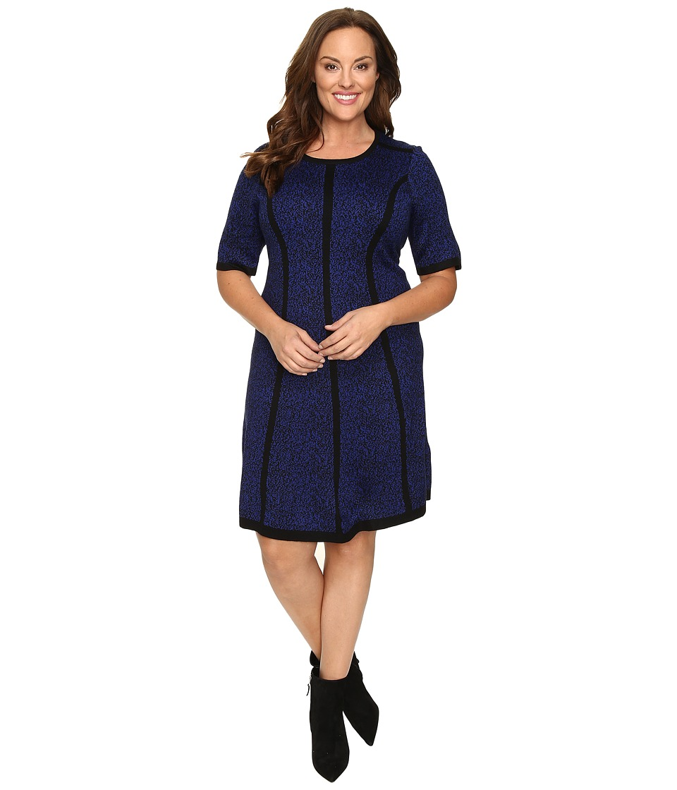 London Times - Plus Size Princess Striped Elbow Sleeve Fit Flare Dress (Black/Blue) Women's Dress