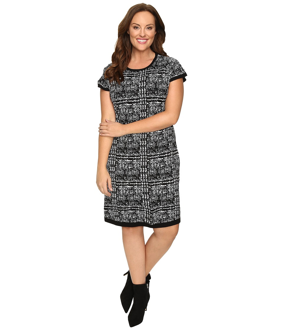 London Times - Plus Size Short Sleeve Fit Flare Sweater Dress (Black/Ivory) Women's Dress