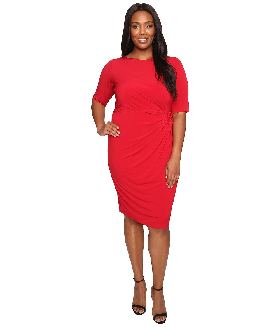 London Times - Plus Size Matte Jersey Sheath Dress w/ Ruching (Chinese Red) Women's Dress