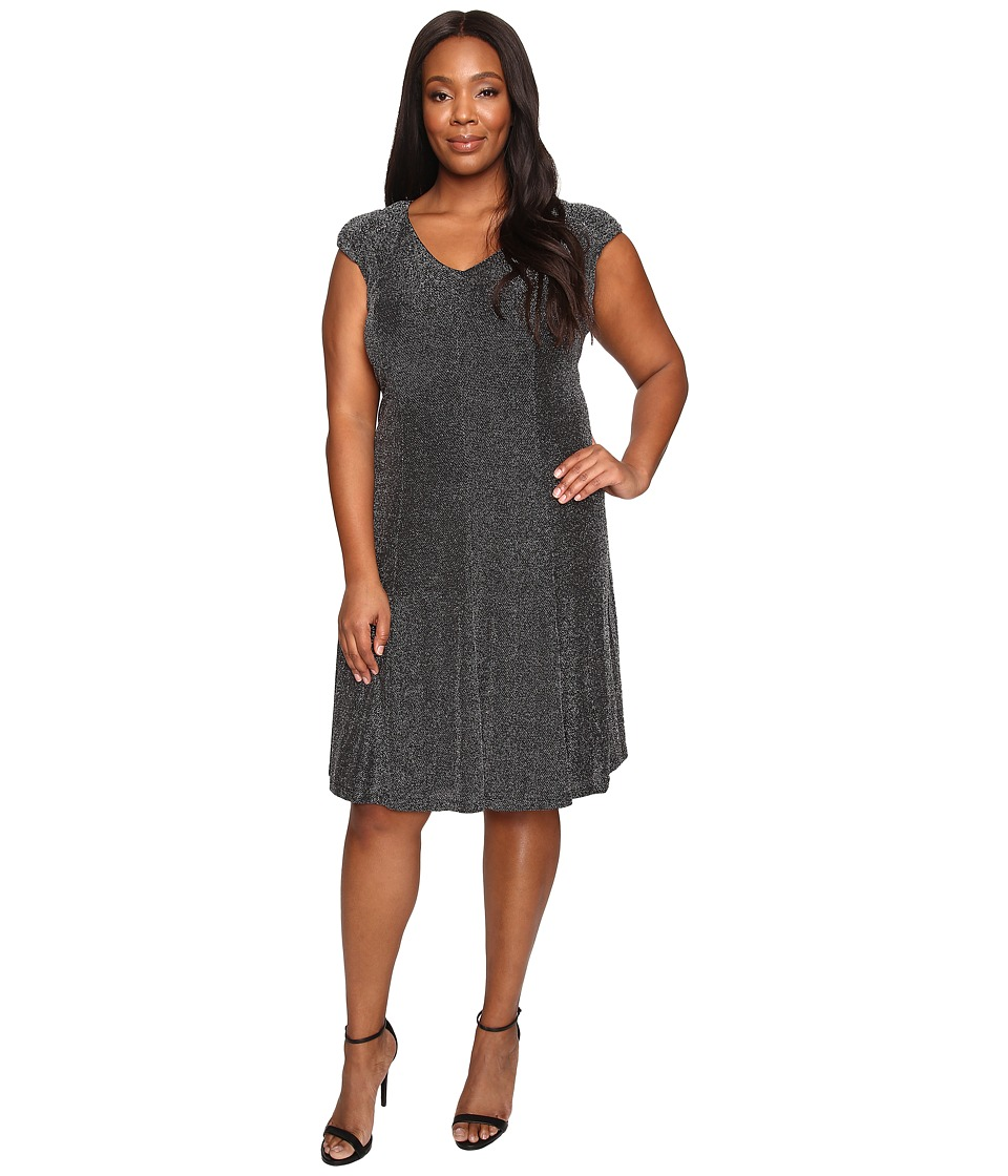 London Times - Plus Size Metallic Knit V-Neck Fit Flare Dress (Black/Silver) Women's Dress