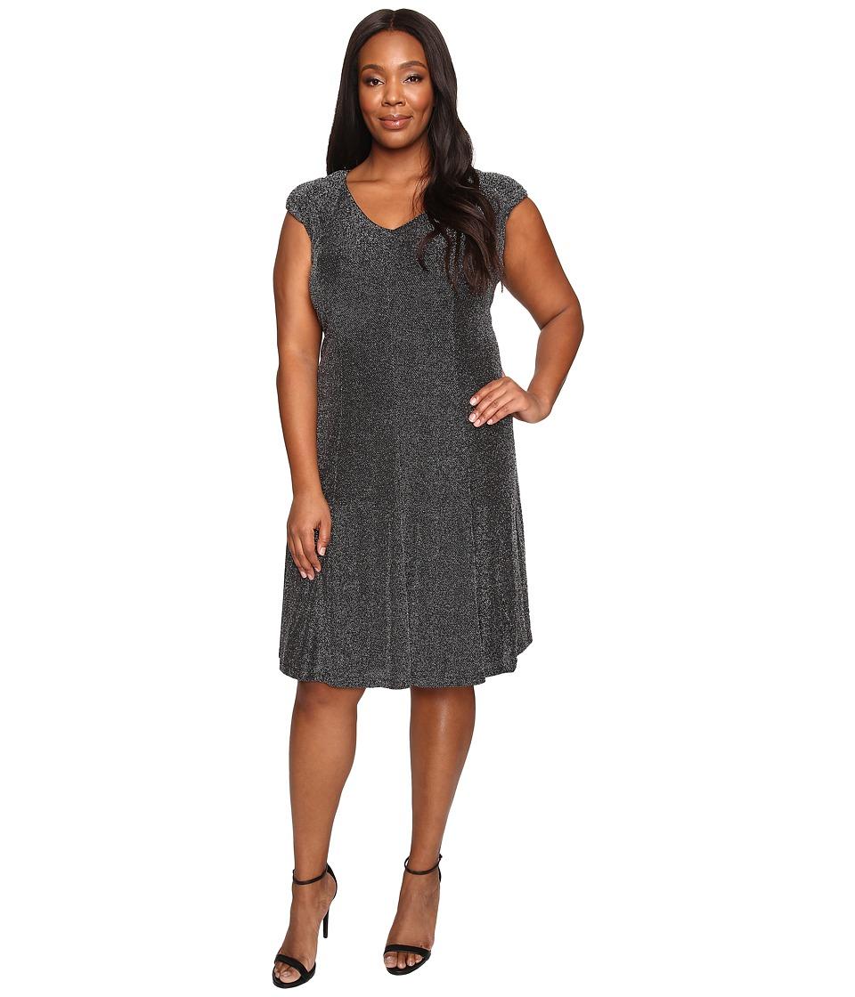 London Times - Plus Size Metallic Knit V-Neck Fit Flare Dress (Black/Silver) Women's Dress